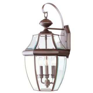Livex Lighting Providence Wall Mount 3 Light Outdoor Imperial Bronze Incandescent Lantern CLI MEN2351 58