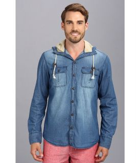 Sovereign Code Donny L/S Hooded Shirt Jacket Mens Long Sleeve Button Up (Blue)