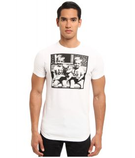 DSQUARED2 Soft Print Sexy Slim Fit Tee Mens Short Sleeve Pullover (White)