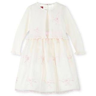 Princess Faith Embroidered Floral Dress and Sweater   Girls 2t 4t, Ivory, Ivory,