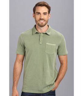 Lucky Brand Double Knit Polo Mens Short Sleeve Pullover (Green)