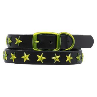 Platinum Pets Black Genuine Leather Dog Collar with Stars   Corona Lime (9.5