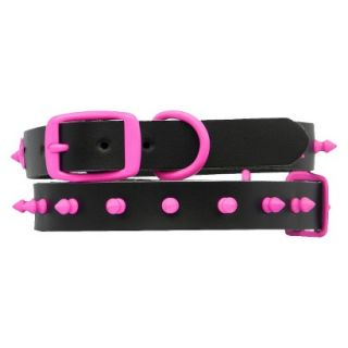 Platinum Pets Black Genuine Leather Dog Collar with Spikes   Pink (17 20)