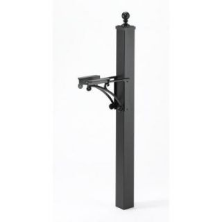 Whitehall Products Deluxe Mailbox Post and Brackets in Black 16019