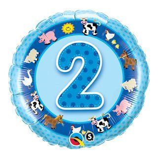 "BOY Number #2 2nd FARM Cow Pig Barn Blue 18"" BIRTHDAY Party Mylar Foil Balloon Health & Personal Care"
