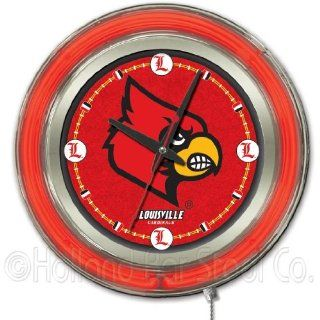 NCAA Louisville Cardinals Double Neon Ring 15 Inch Diameter Logo Clock  Sports Fan Tire And Wheel Covers  Sports & Outdoors