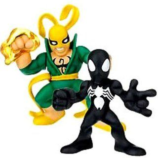 Marvel Superhero Squad Series 14 Mini 3 Inch Figure 2 Pack Black Costume Spider Man and Iron Fist Toys & Games