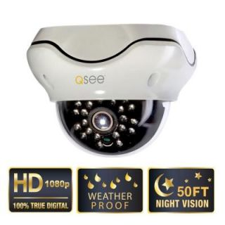 Q SEE Wired 1080p SDI High Resolution Indoor/Outdoor Weatherproof Dome Camera with 50 ft. Night Vision QH8007D