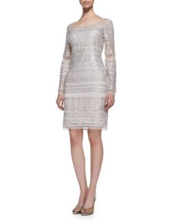 Womens Long Sleeve Lace Cocktail Dress, Platinum   Kay Unger New York