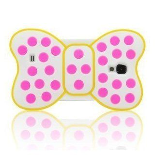 I Need Lovely 3D Pink Dots Yellow Frame Bow knot Soft Silicone Case Cover Compatible for Samsung Galaxy S4 I9500(White) Cell Phones & Accessories