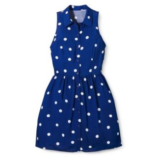 Merona Womens Woven Sleeveless Shirt Dress   Blue Polka Dot   10