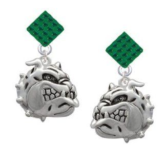 Large Bulldog   Mascot Green Emerald Crystal Diamond Shaped Lulu Post Earrings Jewelry