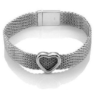 Beautiful Sterling Silver Heart Mesh Bracelet, Includes Gift Box and Special Pouch. Jewelry