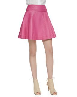 Womens Leather Skater Skirt, Bright Pink   Cusp by