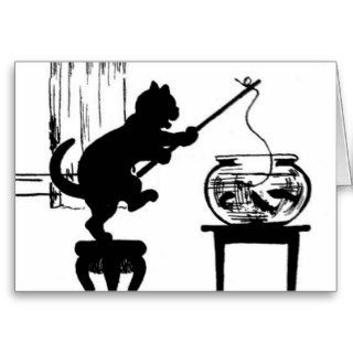 Cat Black/White Silhouette Fishing in Fish Bowl Cards
