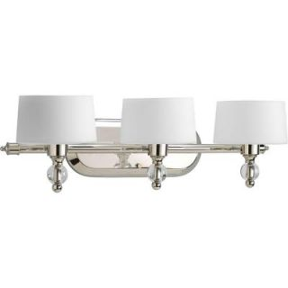 Progress Lighting Fortune Collection Polished Nickel 3 Light Vanity Fixture P2927 104WB