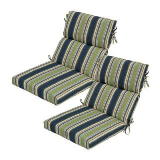 Hampton Bay Burkester Stripe High Back Outdoor Chair Cushion (2 Pack) 7718 02002100