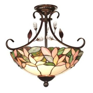 Dale Tiffany Crystal Leaf 2 Light Antique Bronze Semi Flush Mount FTS10001