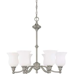 Glomar Glenwood 6 Light Brushed Nickel Chandelier with Satin White Glass Shade HD 1802
