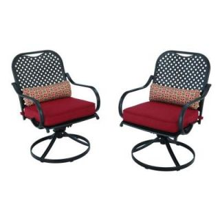 Hampton Bay Fall River Motion Patio Dining Chair with Dragon Fruit Cushion (2 Pack) DY11034 DR R
