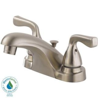 Delta Foundations 4 in. Centerset 2 Handle Low Arc Bathroom Faucet in Stainless B2511LF SSPPU