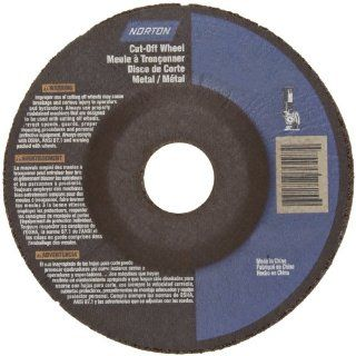 "Norton Metal Stainless Steel Right Cut Small Diameter Reinforced Abrasive Cut Off Wheel, Type 27, Aluminum Oxide, 7/8"" Arbor, 4 1/2"" Diameter x 0.045"" Thickness (Pack of 20) Abrasive Cutoff Wheels"