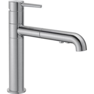 Delta Trinsic Single Handle Pull Out Sprayer Kitchen Faucet in Arctic Stainless 4159 AR DST