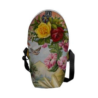 Vintage Shabby Chic Girly Pink Yellow Roses Floral Commuter Bags