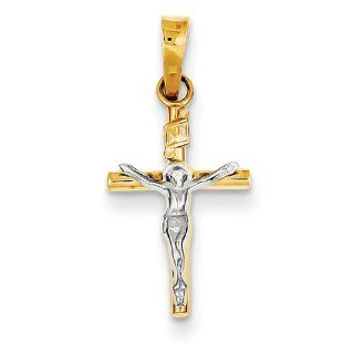 14k Two tone INRI Hollow Crucifix Pendant 9mmx20mm Jewelry