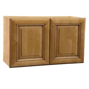 Home Decorators Collection Assembled 30x18x12 in. Wall Double Door Cabinet in Lewiston Toffee Glaze W3018 LTG