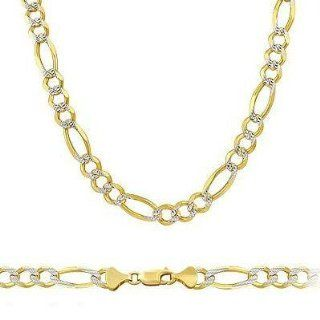 "Shiny SOLID 14k Two Tone Gold Figaro Pave Chain 4mm 24"" Chain Necklaces Jewelry"
