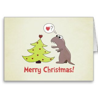 Cute Cartoon Dinosaur Merry Christmas Card