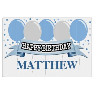 Blue/Silver Name Personalized Happy Birthday Yard Sign