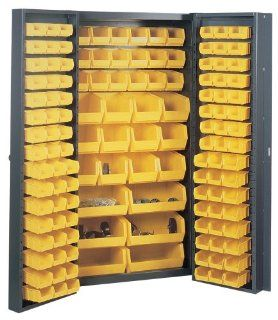 Edsal BC6200G 38 Inch Wide by 24 Inch Deep by 72 Inch High 132 All Plastic Bin Welded Storage Cabinet, Grey/Yellow