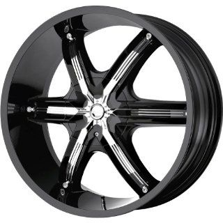 "Milanni Bel Air 6 Gloss Black Chrome Inserts Wheel (22x9.5""/6x139.7mm) Automotive"
