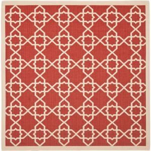 Safavieh Courtyard Red/Beige 7.8 ft. x 7.8 ft. Square Area Rug CY6032 248 8SQ