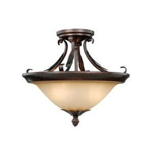 Hampton Bay Pinnacle Mahogany Bronze Semi Flush N0506
