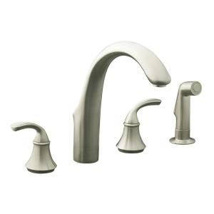 KOHLER Forte 2 Handle Kitchen Faucet in Vibrant Brushed Nickel K 10445 BN
