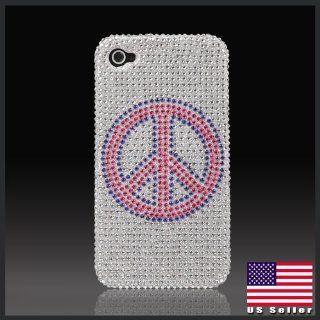 "Peace Sign on Silver ""Cristalina"" crystal bling case cover for Apple iPhone 4 Cell Phones & Accessories"