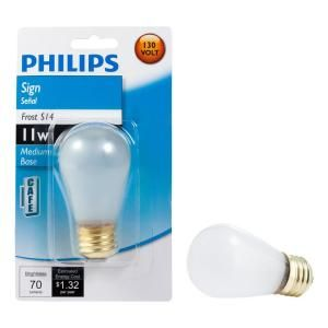 Philips 11 Watt Incandescent S11 Frosted Sign Lamp Light Bulb 416727