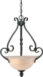 Forte Lighting 2217 03 64 Wrought Iron Bowl Pendant, Bordeaux   Ceiling Pendant Fixtures