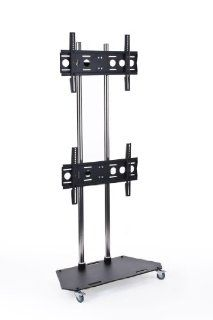"Dual Monitor Floor Stand with 2 VESA Compatible Brackets, Fits 42"" to 60"" Flat Screen Monitors, Heavy Duty Steel (Black) Electronics"