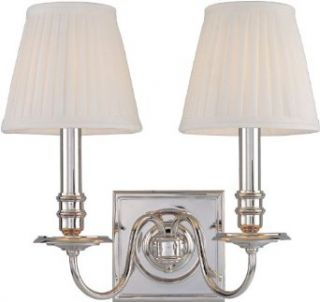 Hudson Valley Lighting 202 PN Two Light Up Lighting Wallchiere Style Brass Double Wall Sconce with Pleated Con, Polished Nickel   Wall Sconces