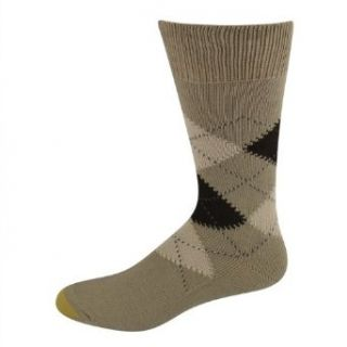 Gold Toe Men's Socks Nottingham Argyle Crew Khaki 1 pair Clothing