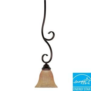 Glomar Moulan 1 Light Hanging Copper Bronze Mini Pendant with Champagne Shade HD 2409