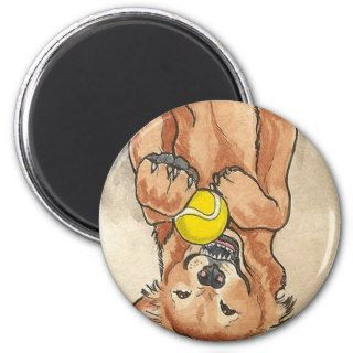 Tennis Ball Fun Golden Retriever Dog Art Magnet