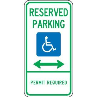 "Accuform Signs FRA191RA Engineer Grade Reflective Aluminum Handicap Parking Sign, For Delaware, Legend ""RESERVED PARKING PERMIT REQUIRED"" with Graphic and Double Arrow, 12"" Width x 24"" Length x 0.080"" Thickness, Green/Blue on White"