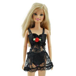 Yiding Underwear Bra and Panty Set Lingerie Pajamas Gown Black Lace Dress with Nightie Made to for the Barbie Doll (Ship From China with Tracking No.) Toys & Games