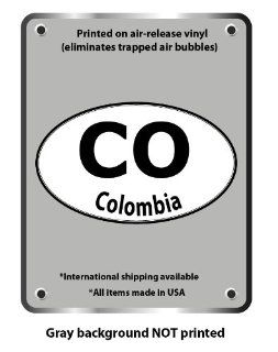 "Colombia country code euro oval vinyl sticker decal 5"" x 3"""