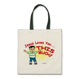 Jesus loves you this much Christian gift design Canvas Bag